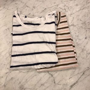 Bundle: 2 Madewell Knot Front Striped Whisper Tees